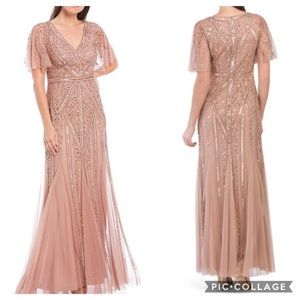 Adrianna Papell flutter sleeves beaded gown